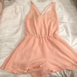 Light Pink V-neck Romper